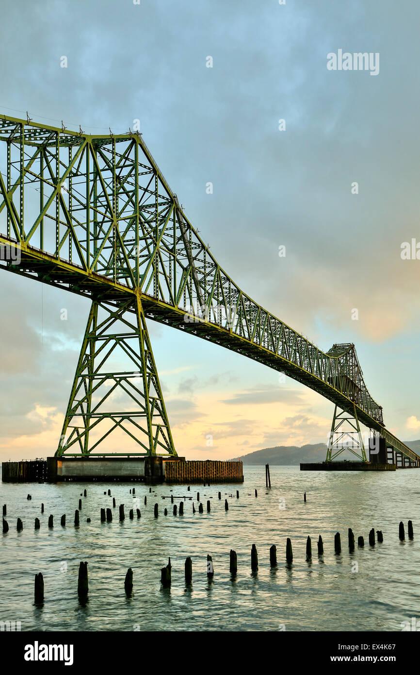 Astoria-Megler Bridge, Columbia River and wood pylons, Astoria, Oregon USA - Stock Image