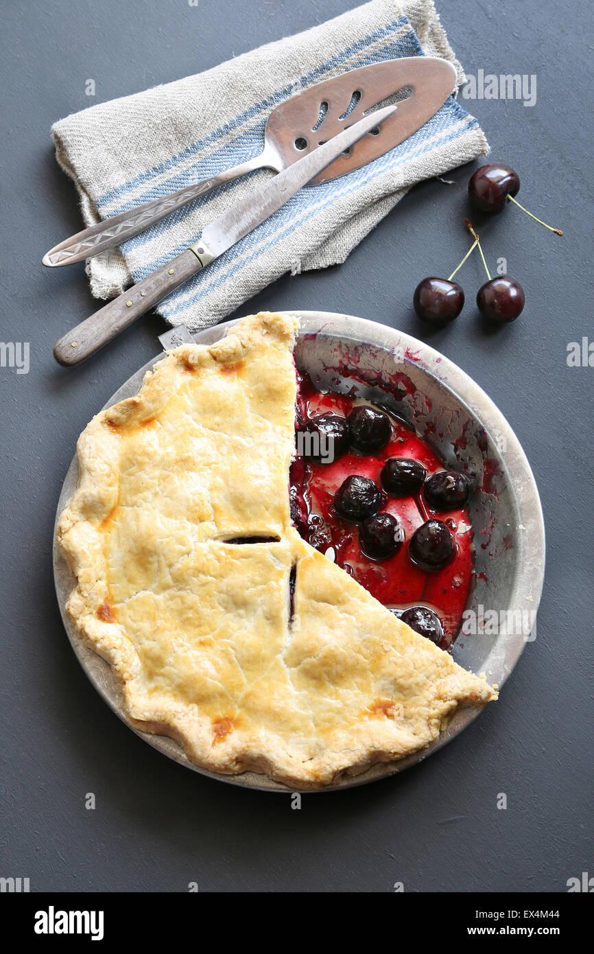 Freshly baked cherry pie - Stock Image
