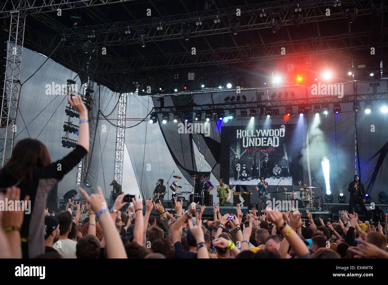 PIESTANY, SLOVAKIA - JUNE 27 2015: American rap rock band band Hollywood Undead performs on music festival Topfest Stock Photo
