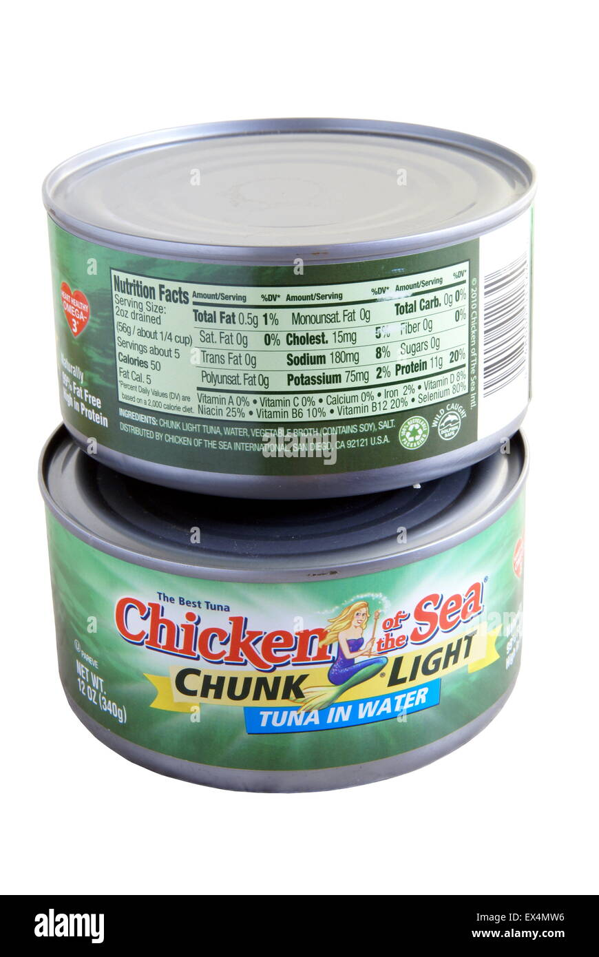 Two 12 ounce cans Chicken of the Sea Tuna showing front and back labels with nutrition information. Isolated on white, illustrat
