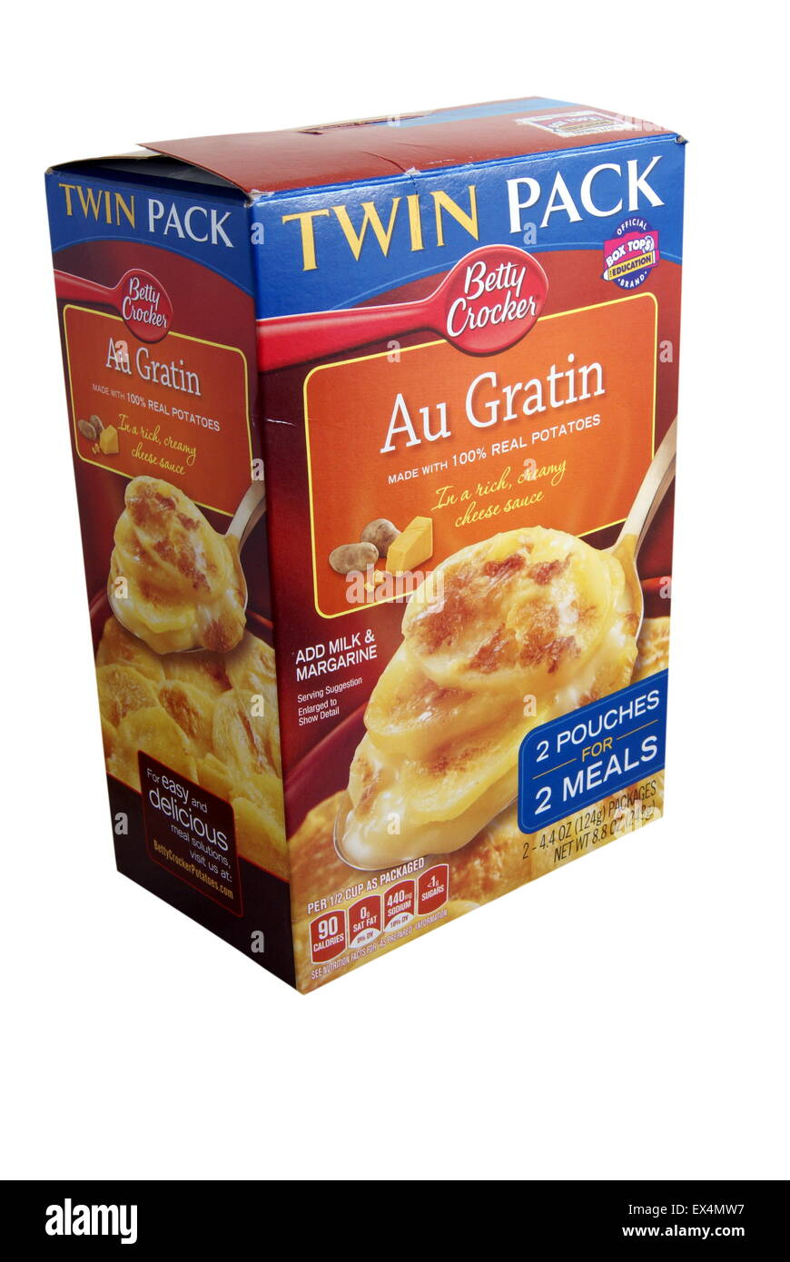 Twin pack box of Betty Crocker Au Gratin Potatoes distributed by General Mills Sales Inc, Minneapolis MN USA. Illustrative - Stock Image