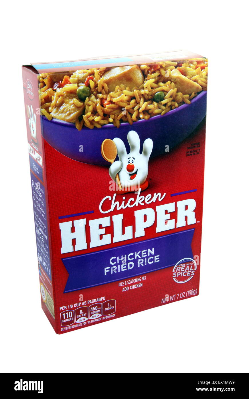 Chicken Helper Chicken Fried Rice prepared box meal. Betty Crocker food product distributed by General Mills Sales - Stock Image