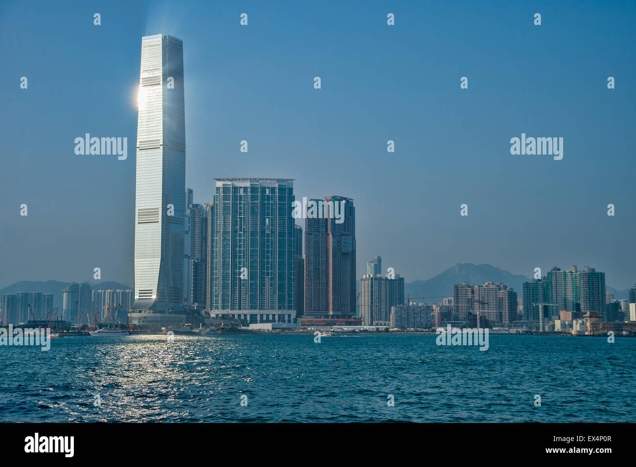 Reflected sunlight from ICC skyscraper in Hong Kong - Stock Image