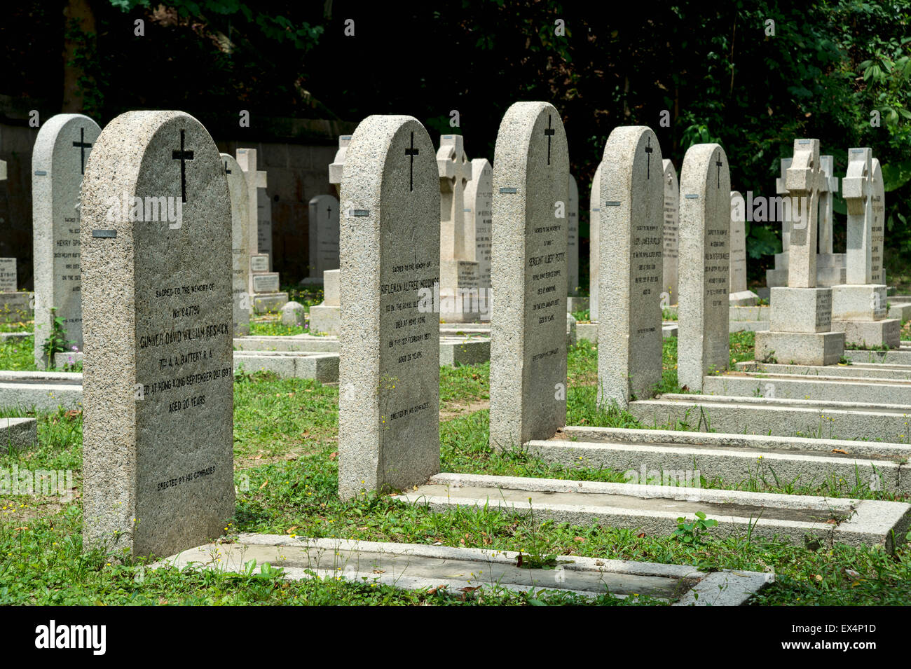 Soldier's headstones at  Hong Kong Cemetery Stock Photo