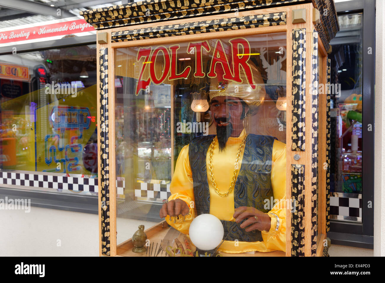 A fortune telling machine in an amusement arcade - Stock Image
