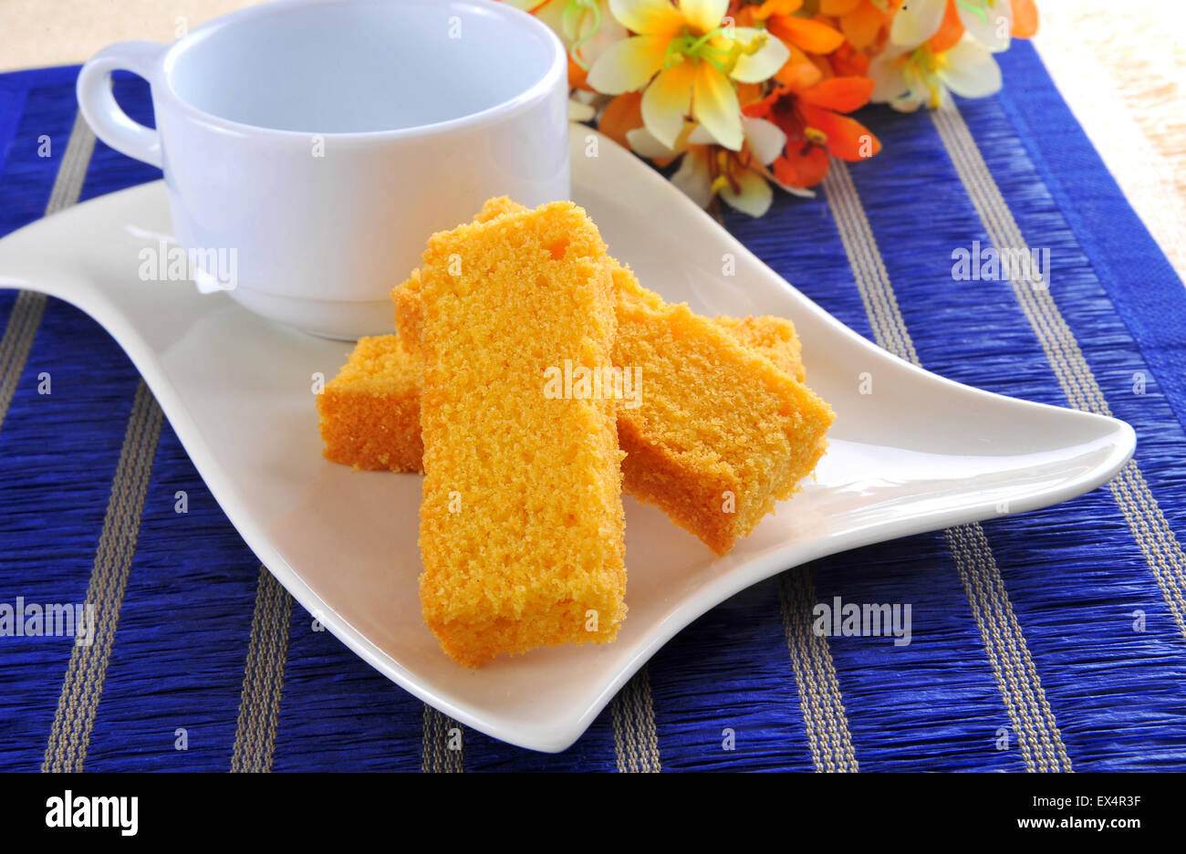 Cake Rusk and Tea Cup Stock Photo