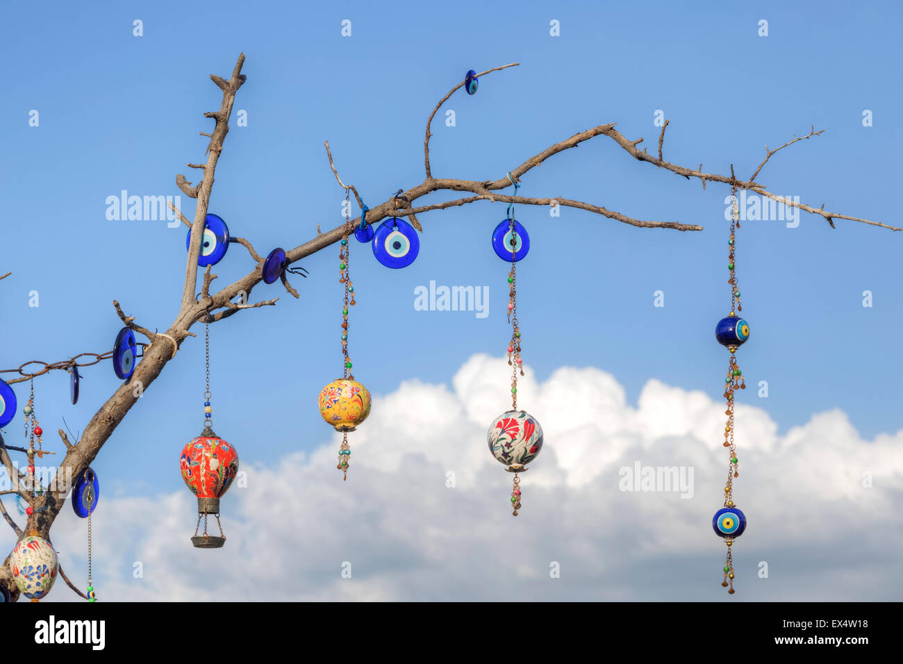 Turkish Souvenirs hanging on a branch - Stock Image