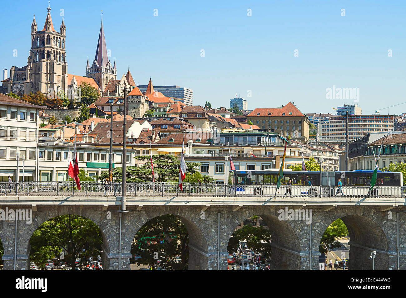 Lausanne Cathedral view over the bridge in summertime - Stock Image