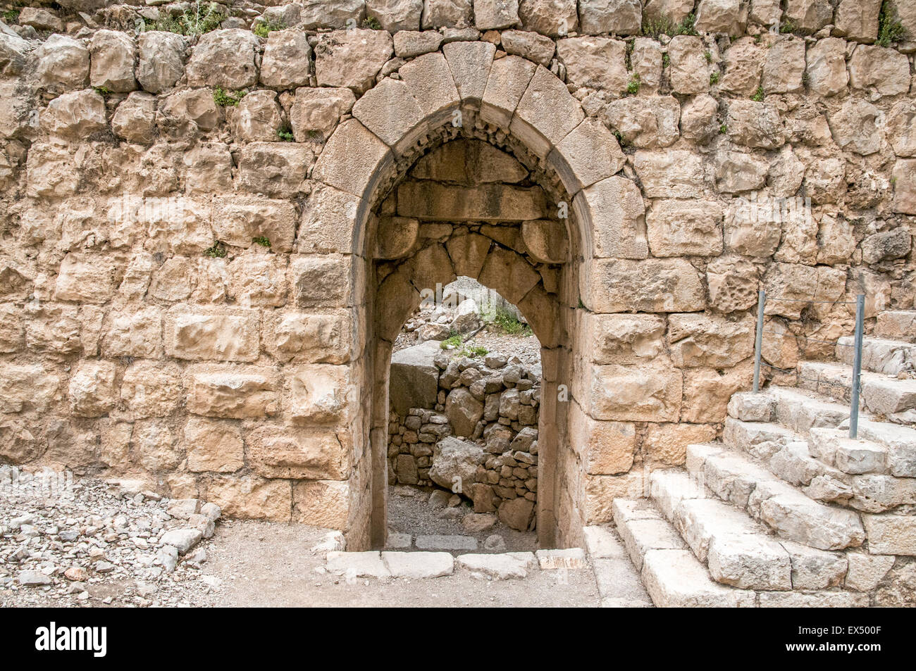 The Western Gate The Nimrod (Namrud) Fortress or Nimrod Castle is a medieval Muslim castle situated on the southern - Stock Image