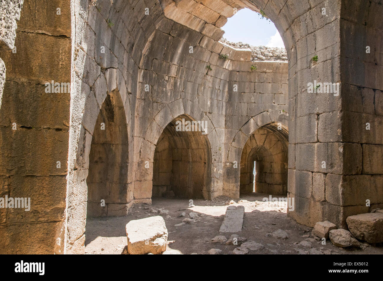 The Octagonal tower. Nimrod (Namrud) Fortress or Nimrod Castle is a medieval Muslim castle situated on the southern - Stock Image