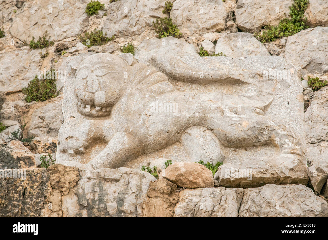 Israel, Golan Heights, remains of the Nimrod Fortress details of the lion bas relief - Stock Image