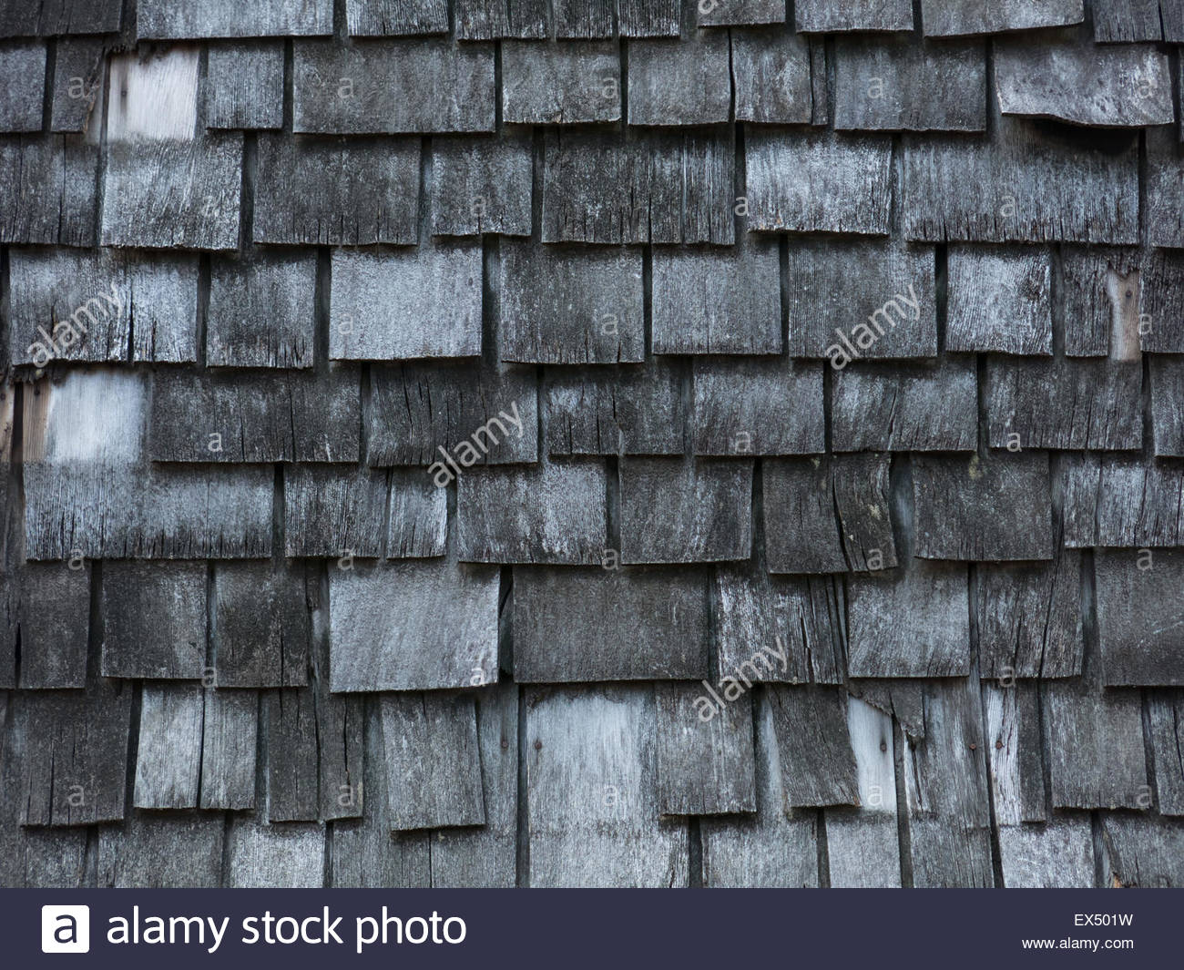 Background of aged wooden shingles - Stock Image