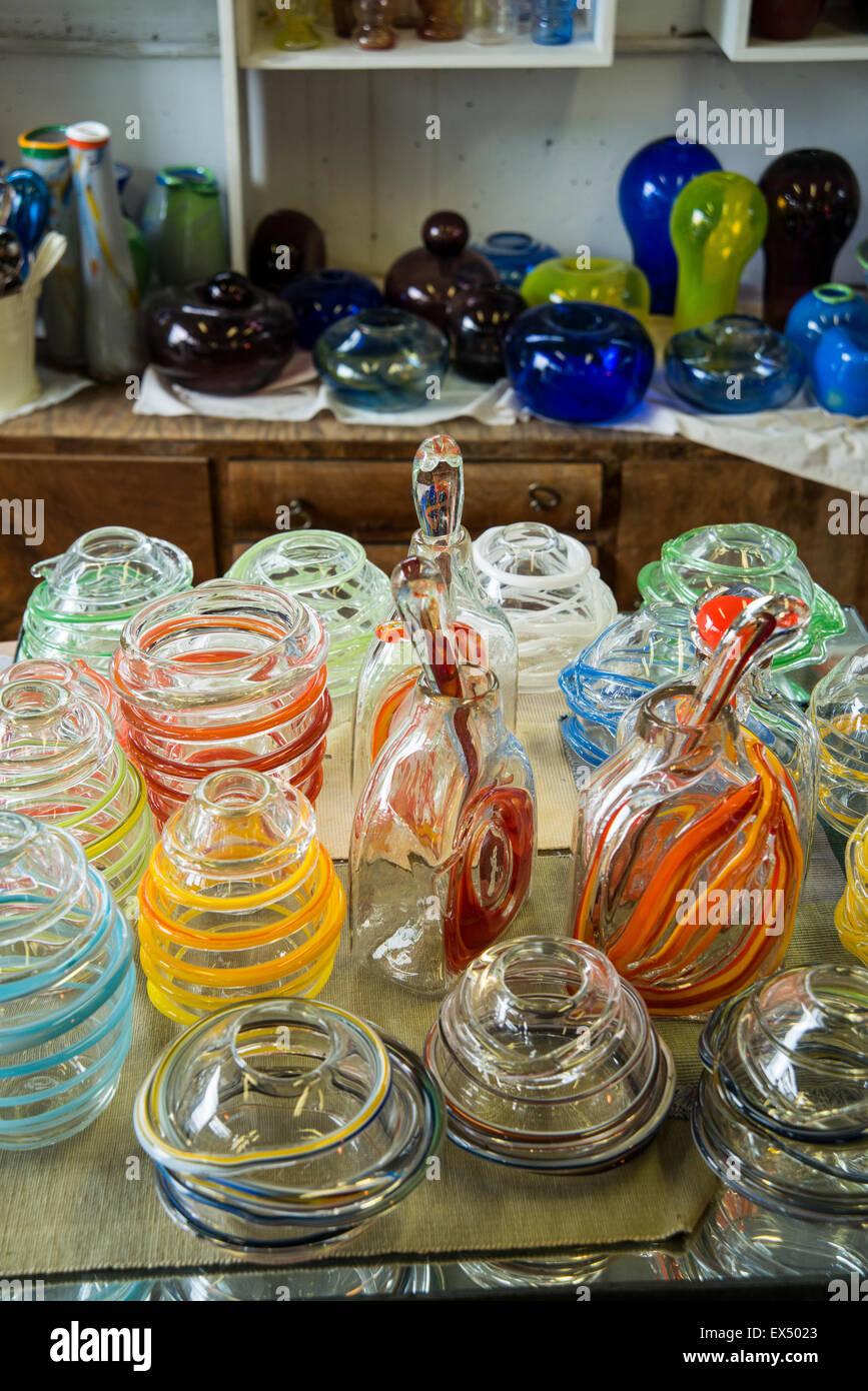 Handmade glass vases - Stock Image