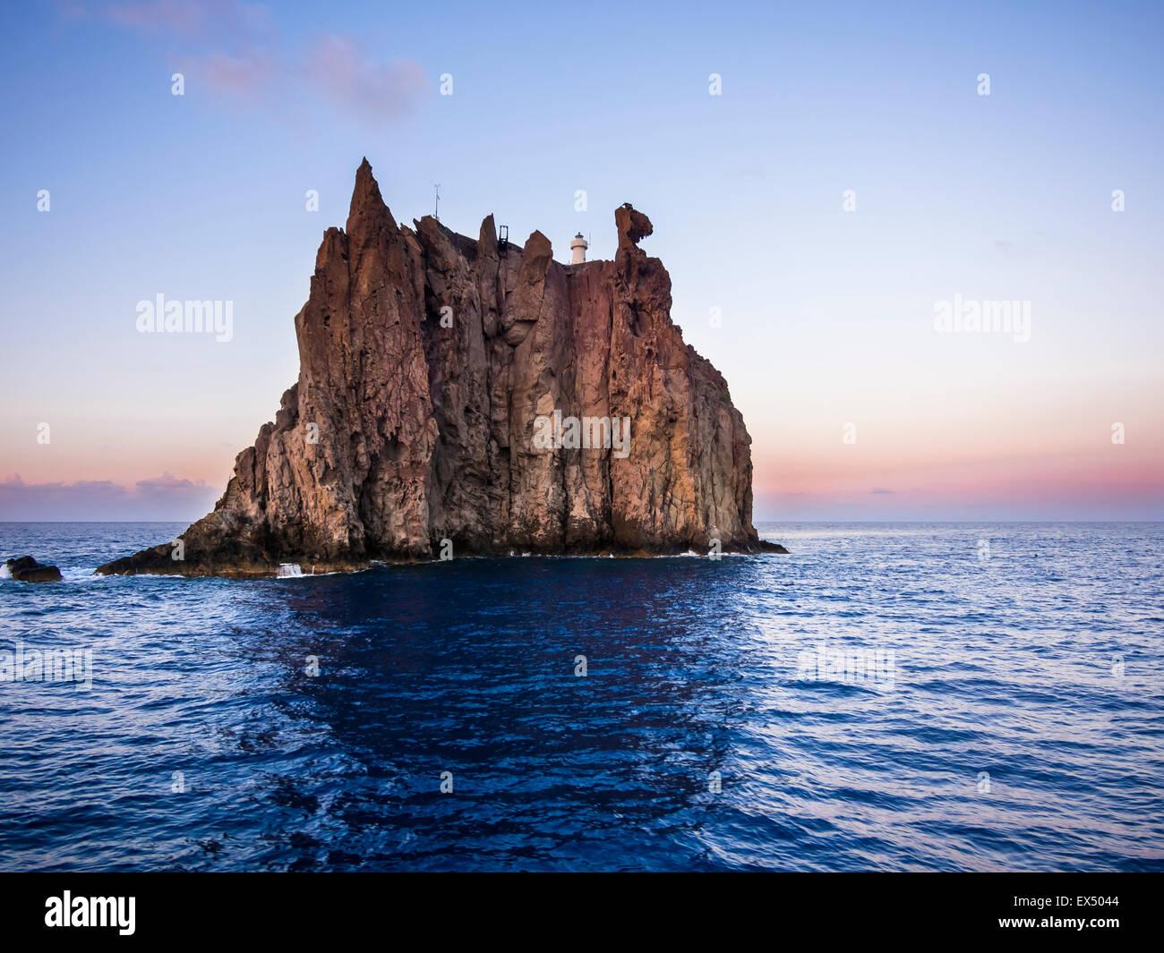 Isola Strombolicchio with lighthouse, Tyrrhenian Sea, Aeolian or Lipari Islands, Sicily, Italy - Stock Image