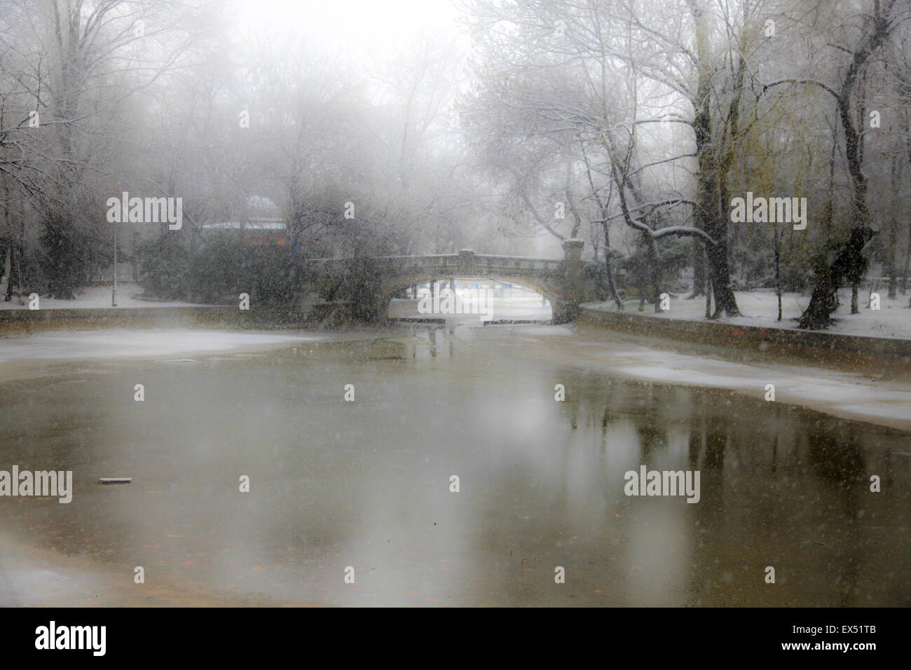 Park During Heavy Snowfall In Winter In Bucharest, Romania - Stock Image