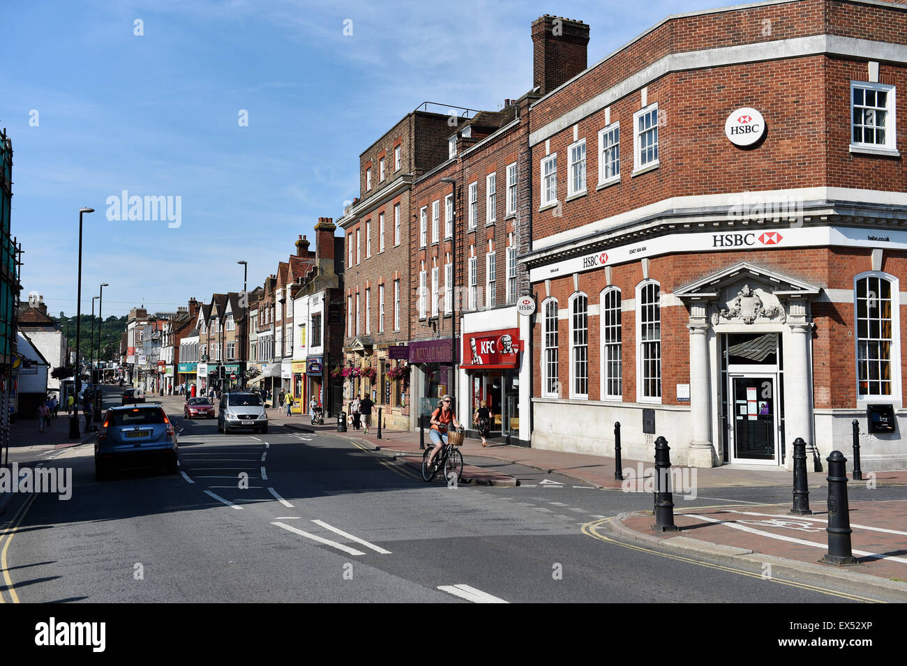 Tonbridge Kent England UK - The High Street with HSBC bank on the corner - Stock Image