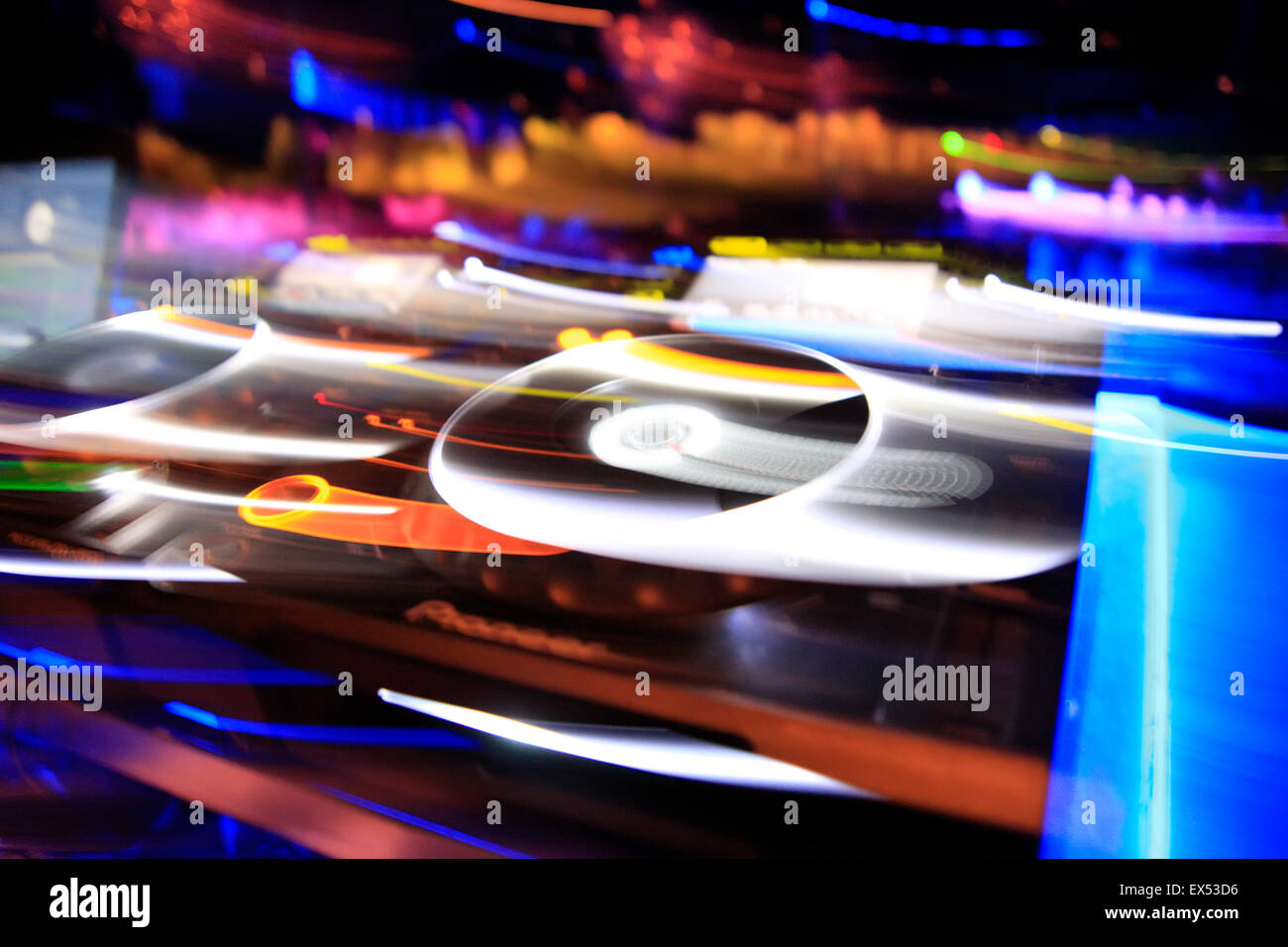 Motion blur image of a deck equipment / sound mixing devices. Athens nightclub, Greece. - Stock Image