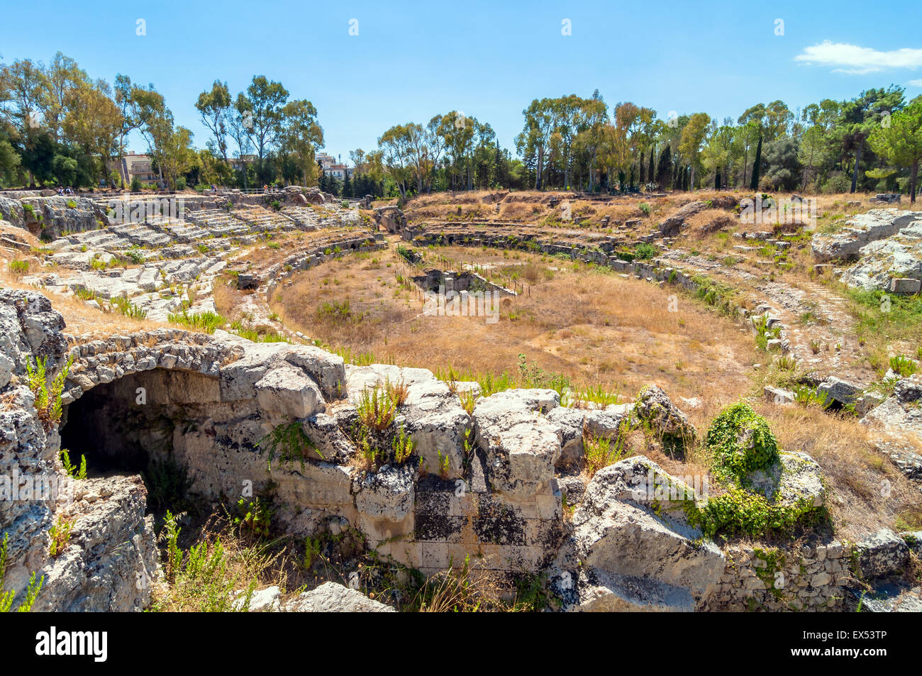 ancient roman amphitheater in the archaeological park of Syracuse - Stock Image