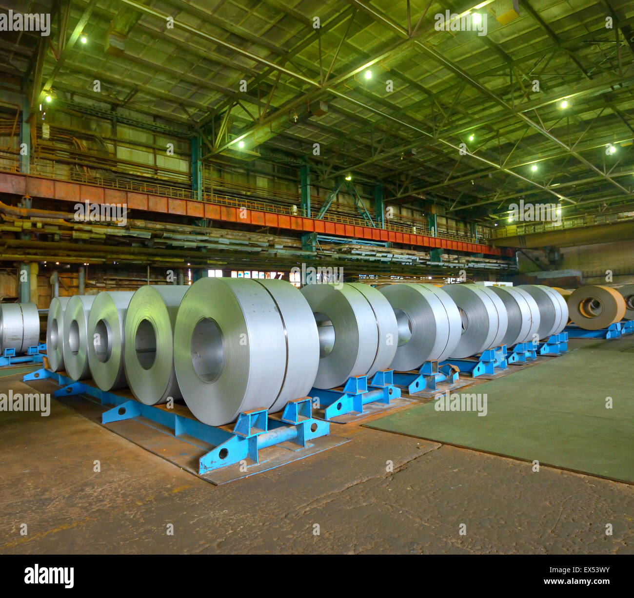Huge rolls of tinplate in the factory - Stock Image