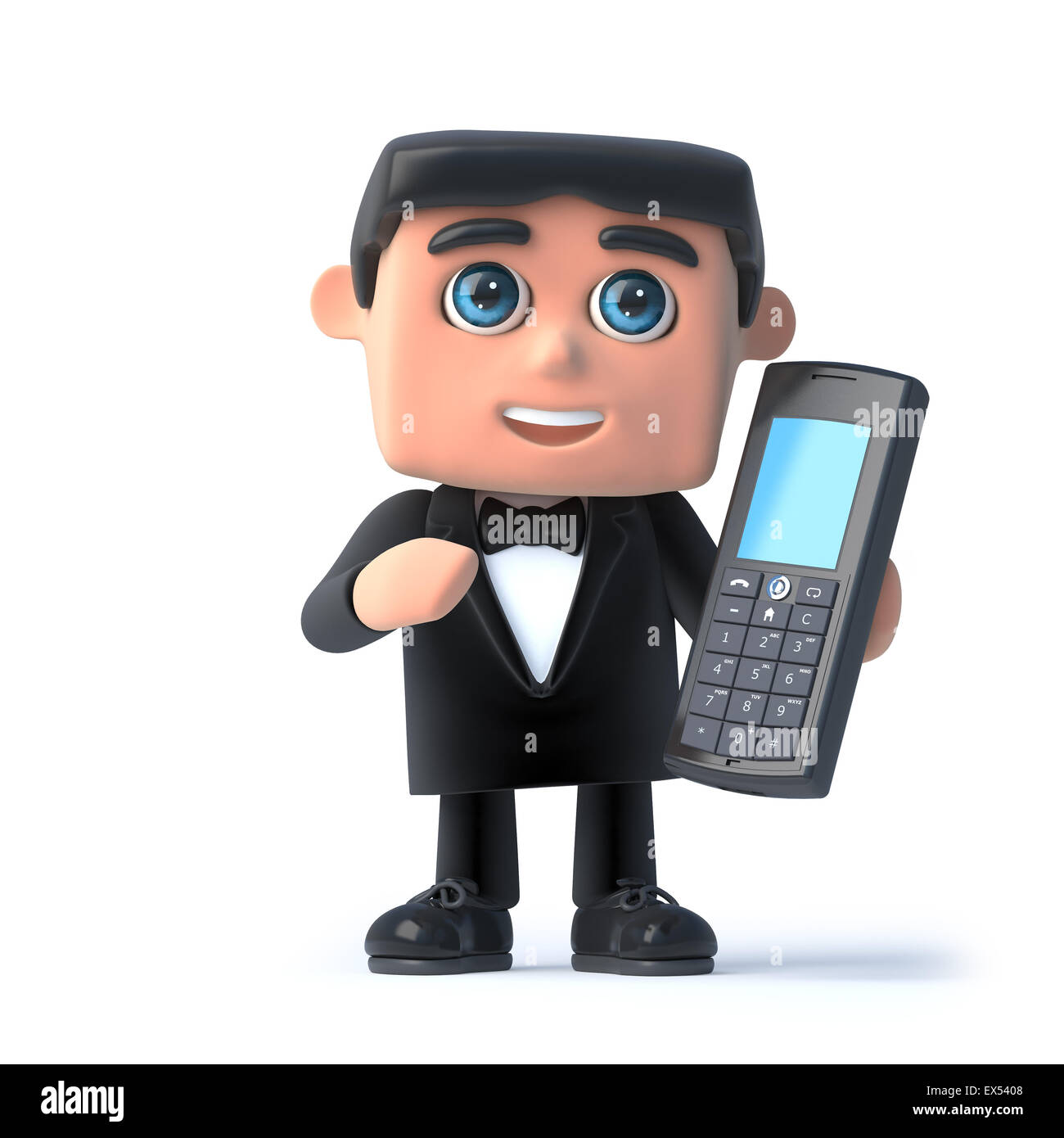 3d render of a bow tie spy using his mobile phone - Stock Image