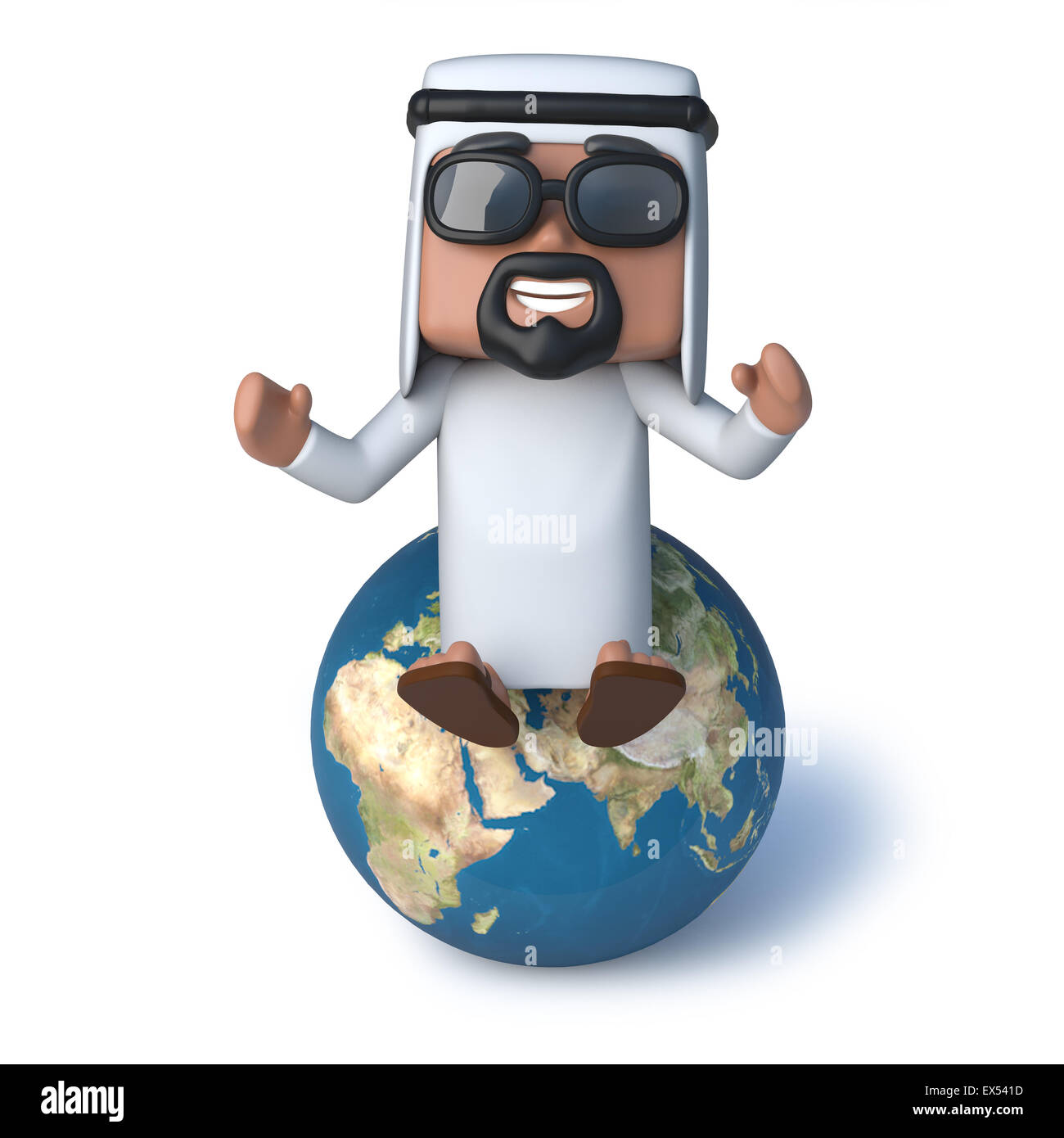 3d render of an Arab sitting on a globe of the Earth - Stock Image