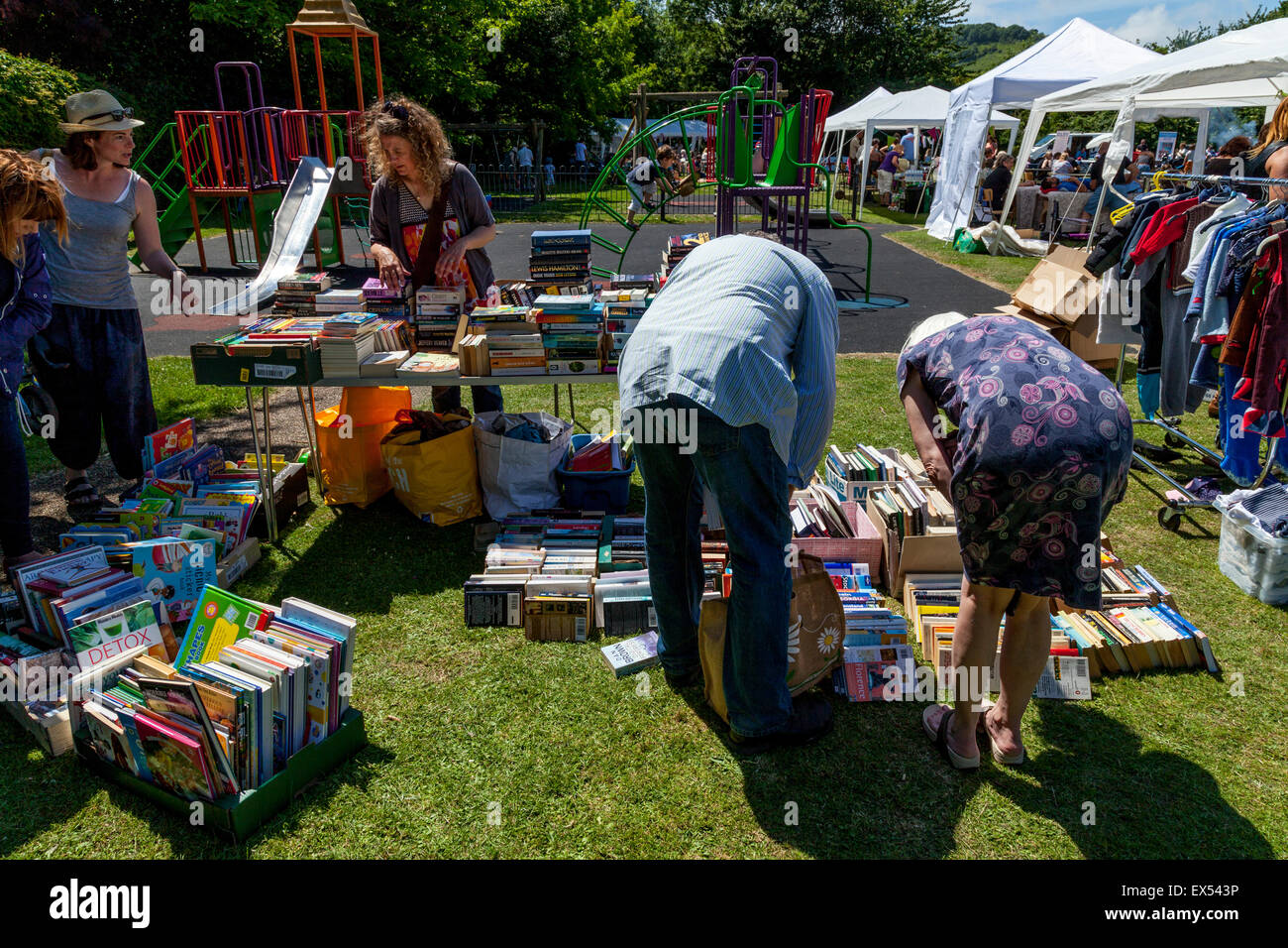 Second Hand Books For Sale, Kingston Village Fete, Kingston, Sussex, UK - Stock Image