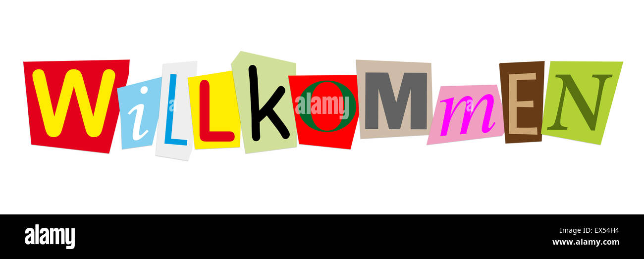 willkommen is german for welcome - Stock Image