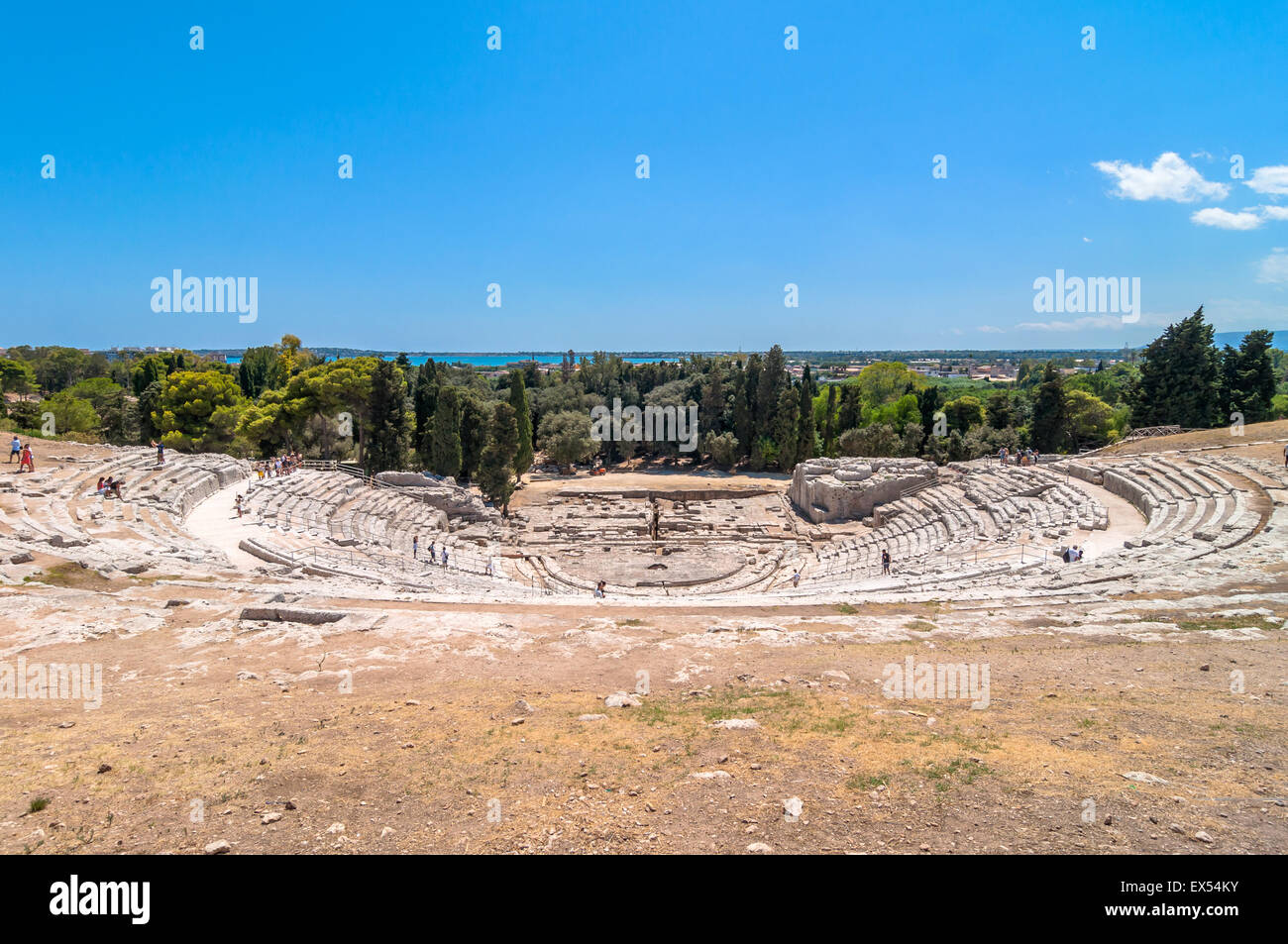 ancient Greek theater of Syracuse, Sicily, Italy. This monument is in the Unesco world heritage list. - Stock Image