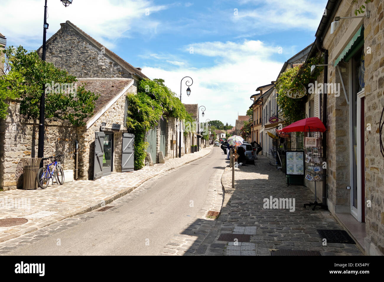 Picturesque street view in French Artists Village  Barbizon, Seine-et-Marne, France. - Stock Image