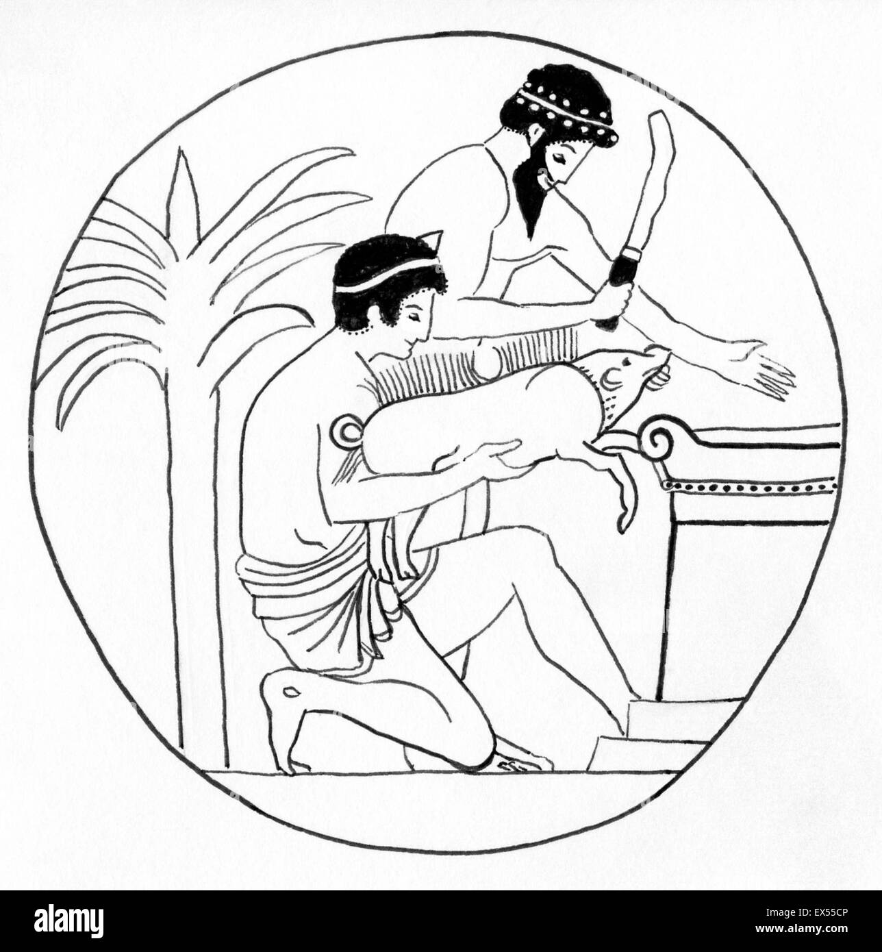 LIne drawing of an ancient Greek boar sacrifice. - Stock Image