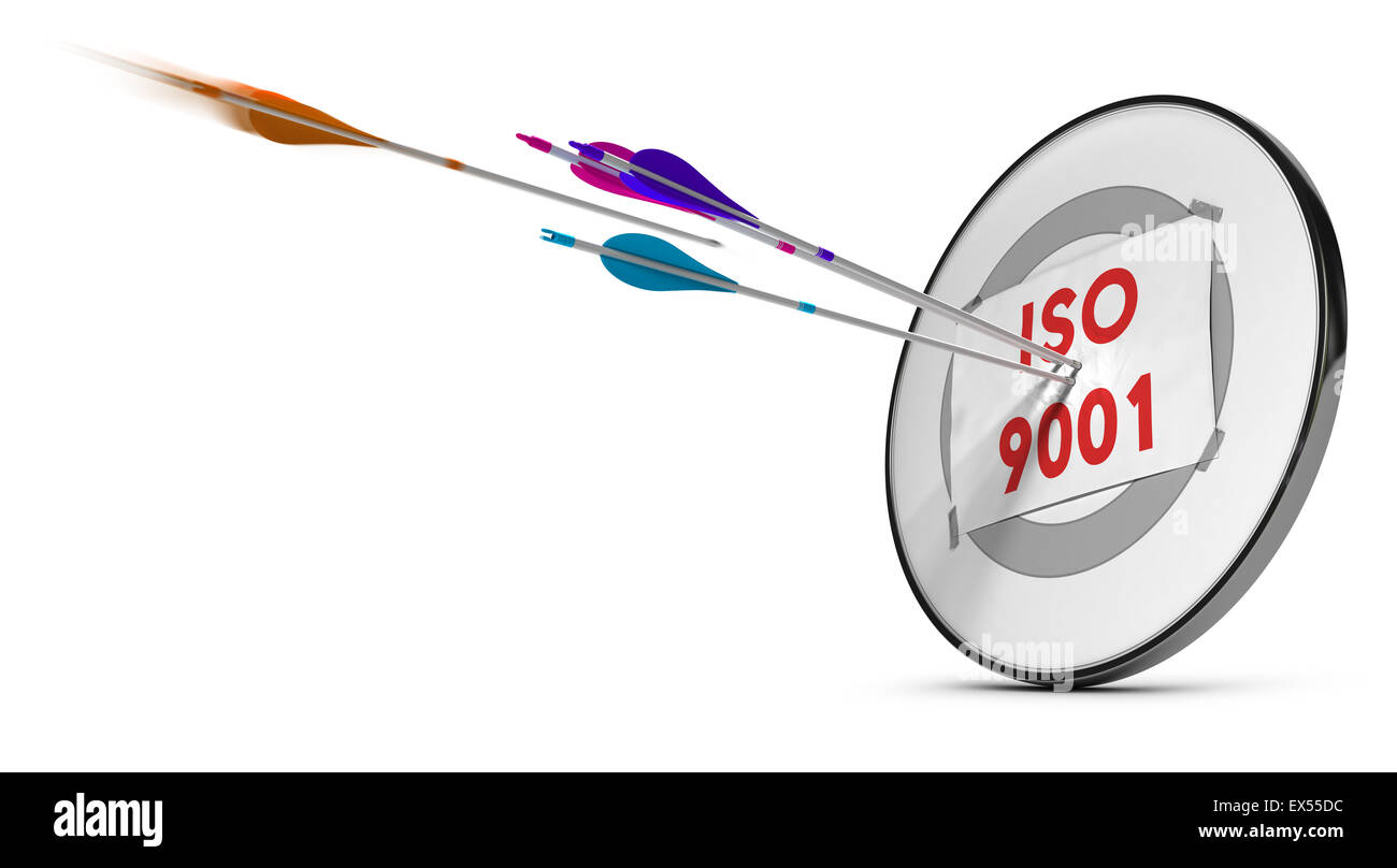 One target with three colorfull arrows hitting the text ISO 9001. Concept image for illustration of quality standard. - Stock Image