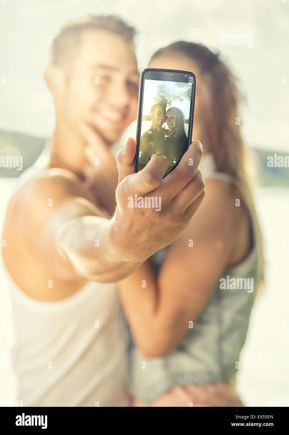 Couple in love on the lake, close-up, selfie Stock Photo