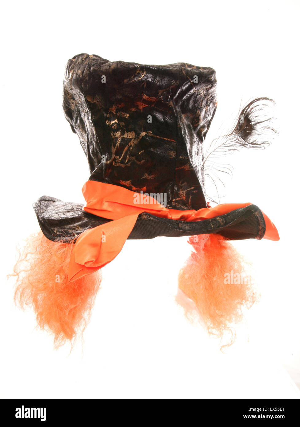 Mad hatter tea party hat and wig cutout - Stock Image