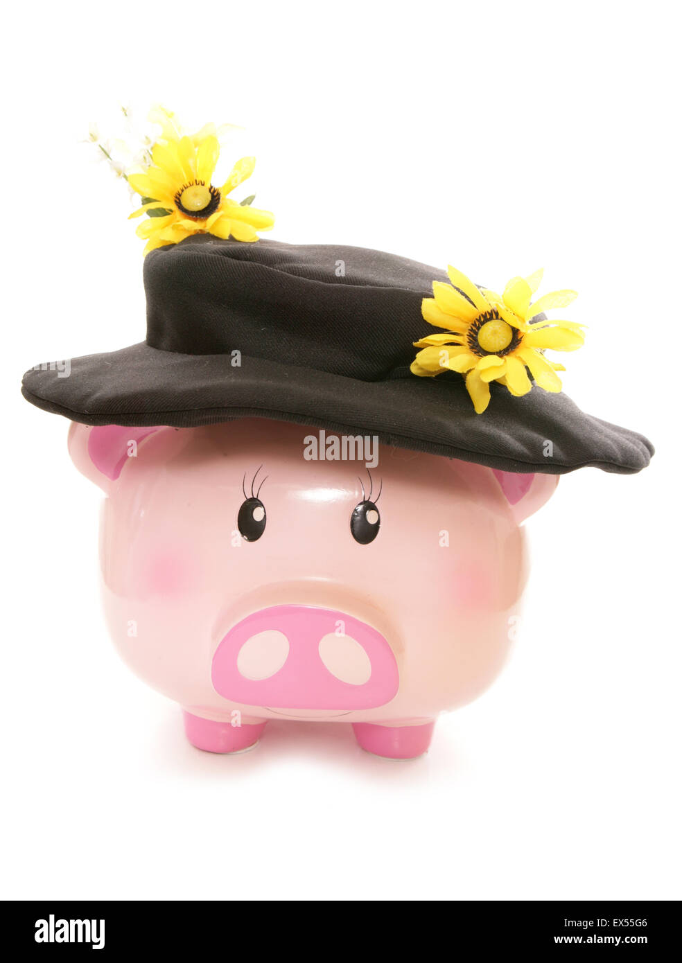 piggy bank wearing sunflower scare crow hat cutout - Stock Image