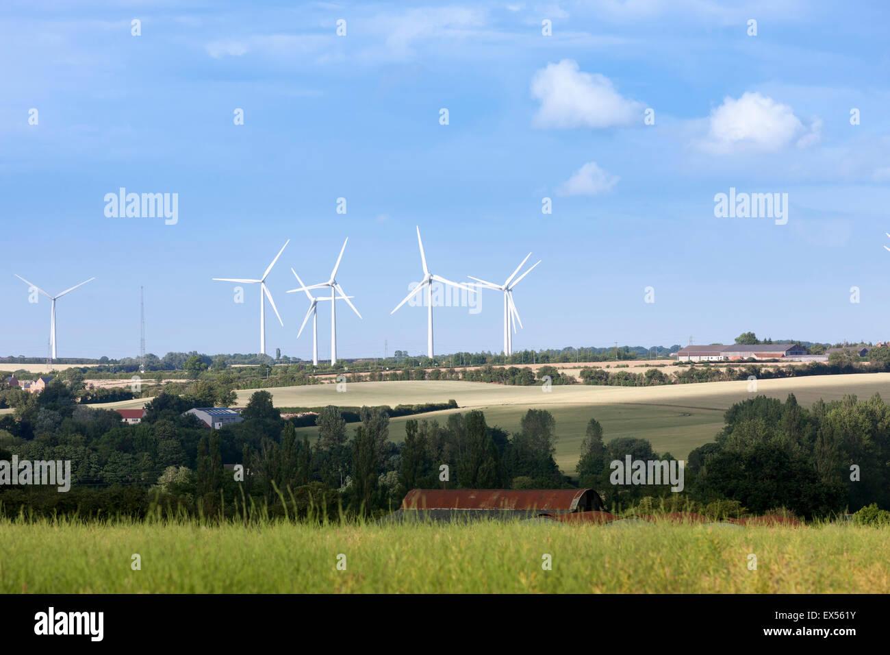 Wind farm Wood Lodge, Cranford Estate, Kettering, Northamptonshire. - Stock Image