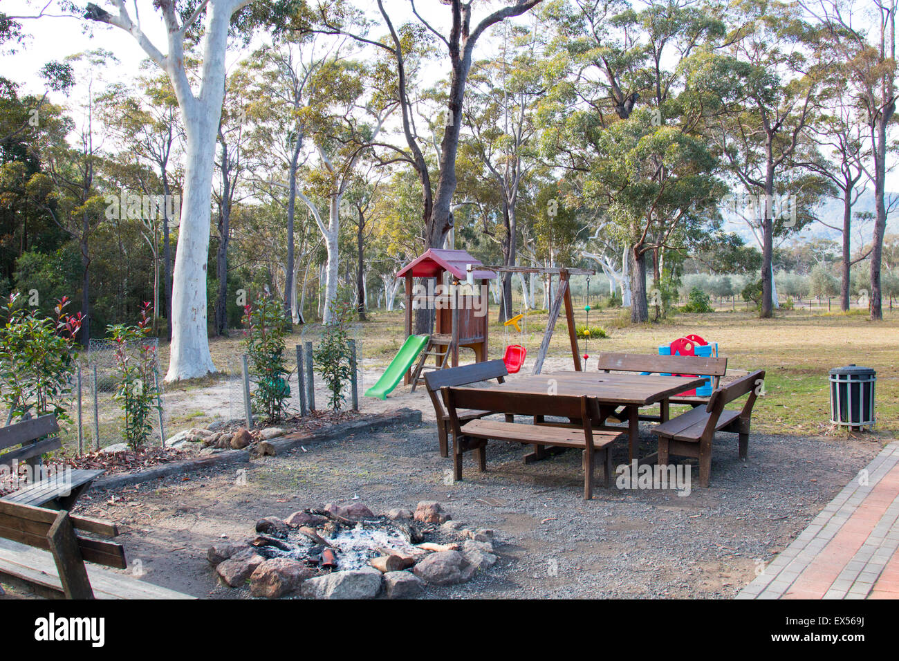 Camp Fire Setting And Picnic Tables At A Rural Retreat In Kangaroo - Fire picnic table