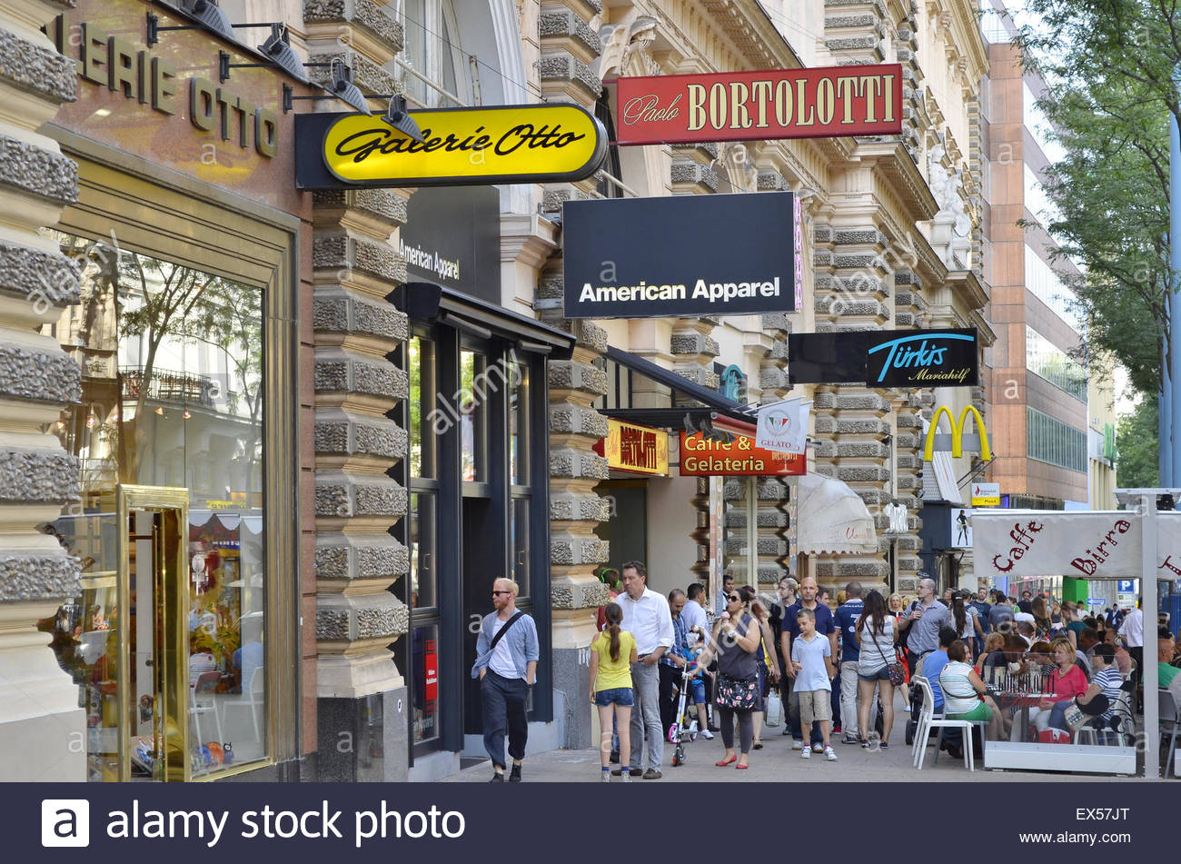 Shoppers At Mariahilferstrasse In Vienna Austria Europe Stock Photo