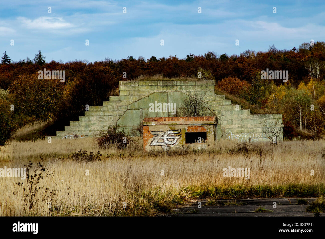 One of the many aircraft carriers on an abandoned Russian Military base in The Czech Republic. - Stock Image