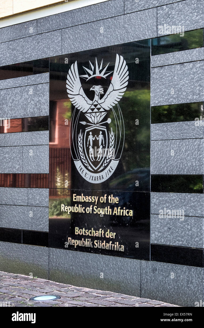 South African Embassy & Consulate exterior with crest in Mitte, Berlin - Stock Image