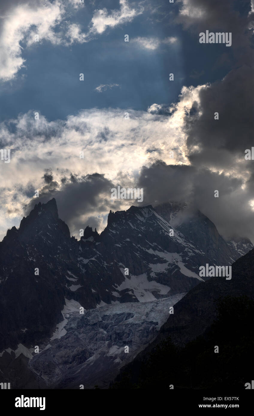 Mont Blanc in France or Monte Bianco in Italy on the French-Italian border at the head of the Aosta Valley in Italy. - Stock Image