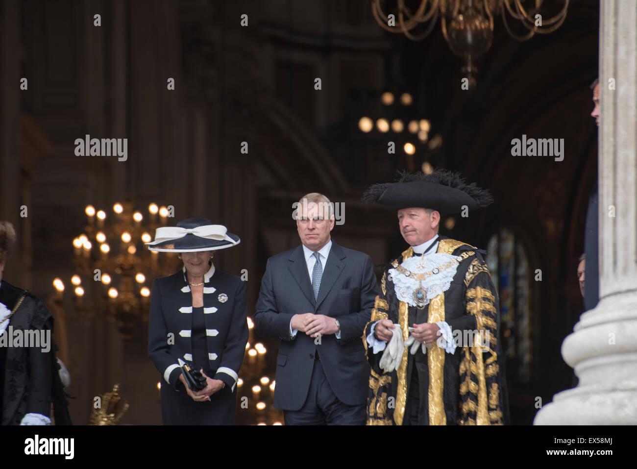 London, UK. 7th July, 2015. 10th Anniversary of London Bombings, Prince Andrew the Duke of York leaves St Paul's - Stock Image