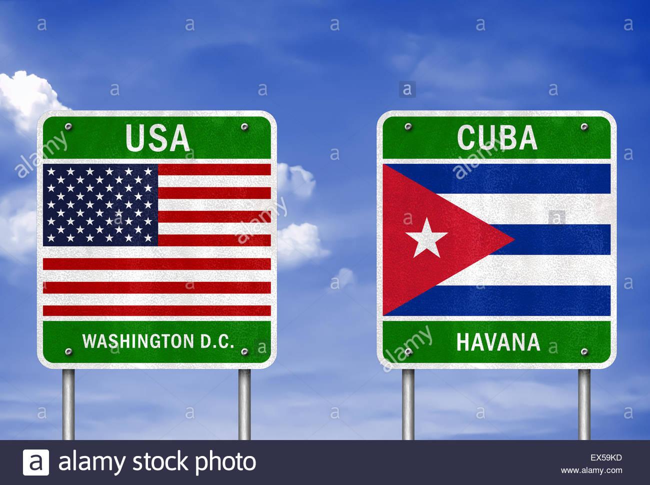 Cuba USA - partnership illustration concept - Stock Image