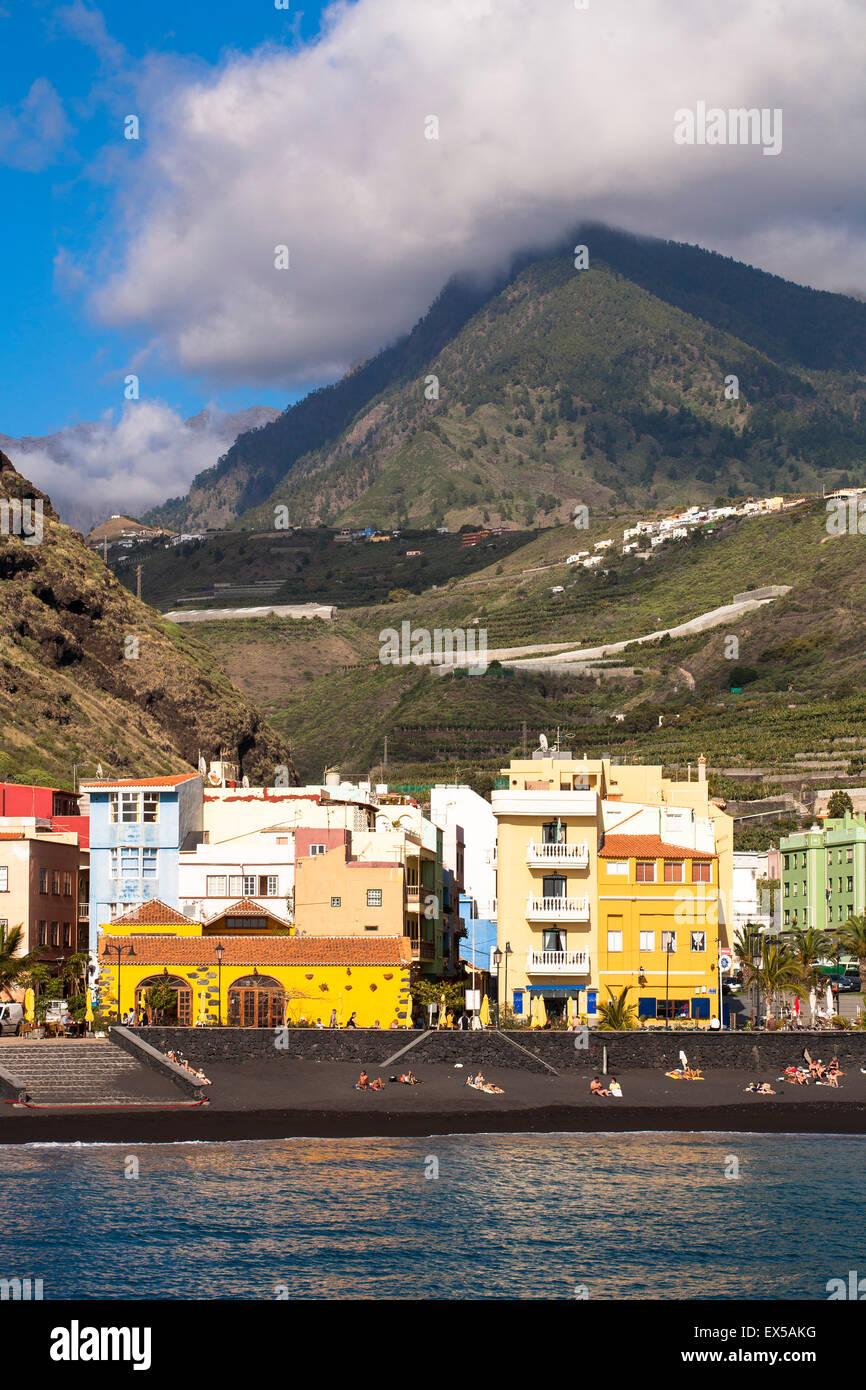 ESP, Spain, the Canary Islands, island of La Palma, Puerto de Tazacorte at the west coast, lava beach.  ESP, Spanien, Stock Photo