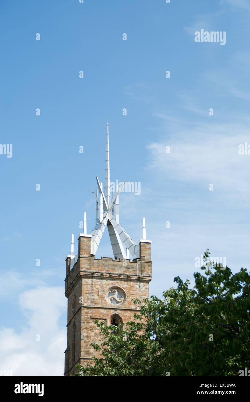 Linlithgow palace tower spire with sunny blue sky in the background Stock Photo