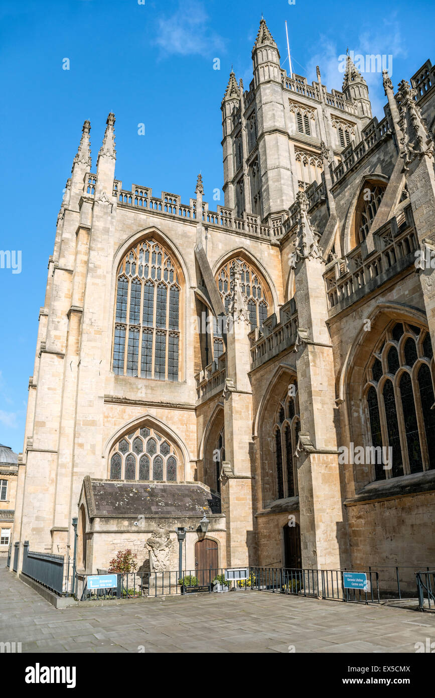 View at Bath Abbey in the old town of Bath, Somerset, England - Stock Image