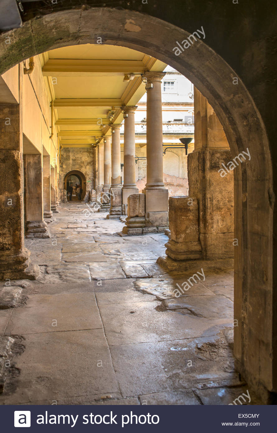 The Great Bath of the Roman Baths complex, a site of historical interest in the English city of Bath, Somerset, - Stock Image