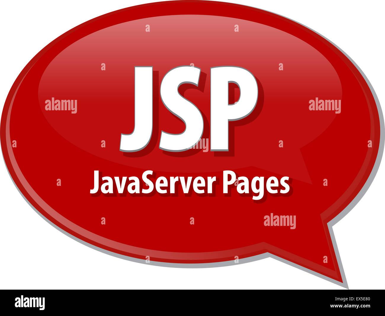 Speech bubble illustration of information technology acronym abbreviation term definition JSP Java Server Pages - Stock Image