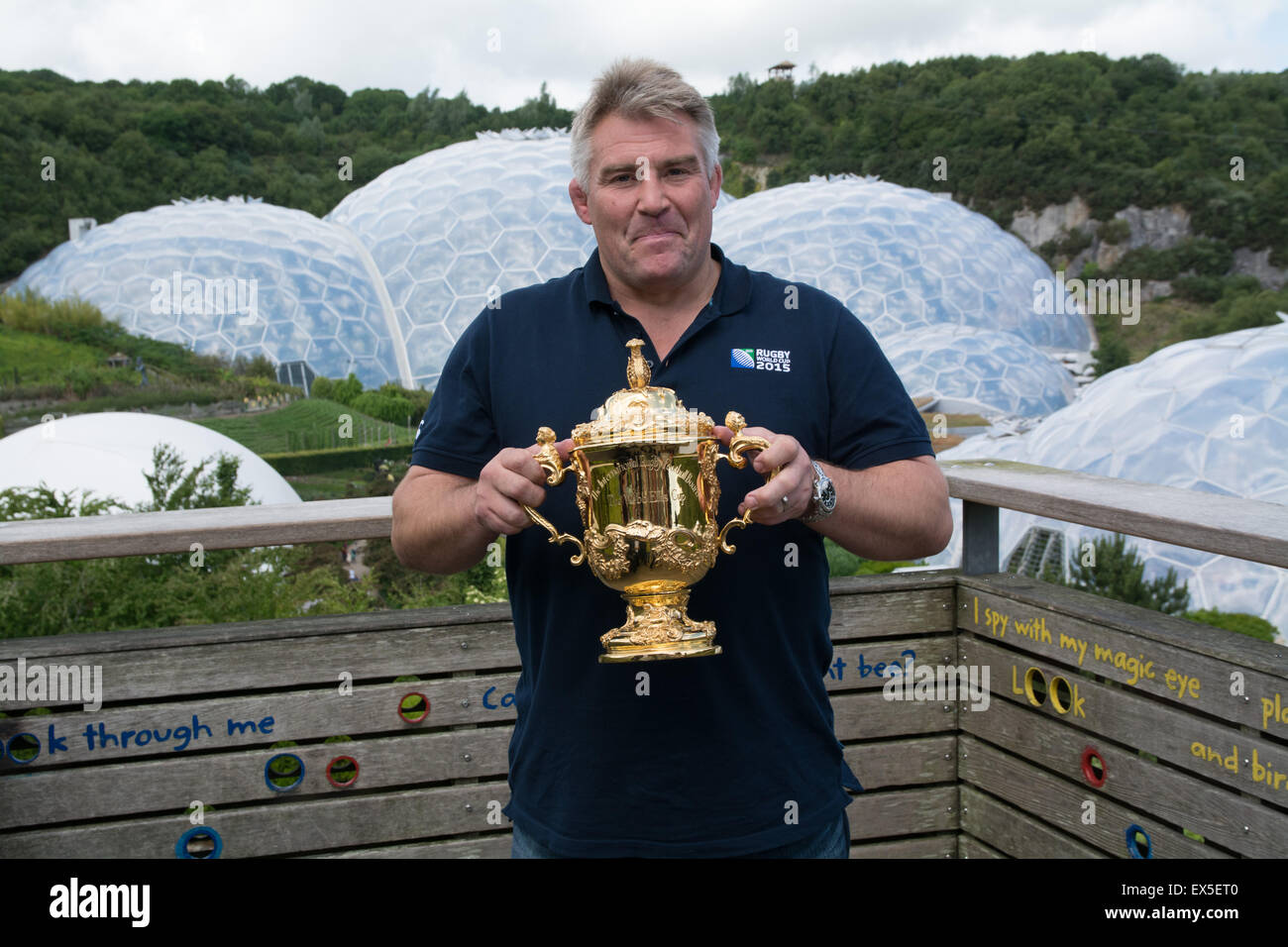 Picture of Jason Leonard , at the eden project with the Web Ellis trophy to launch the Rugby World Cup 2015 in england. Stock Photo