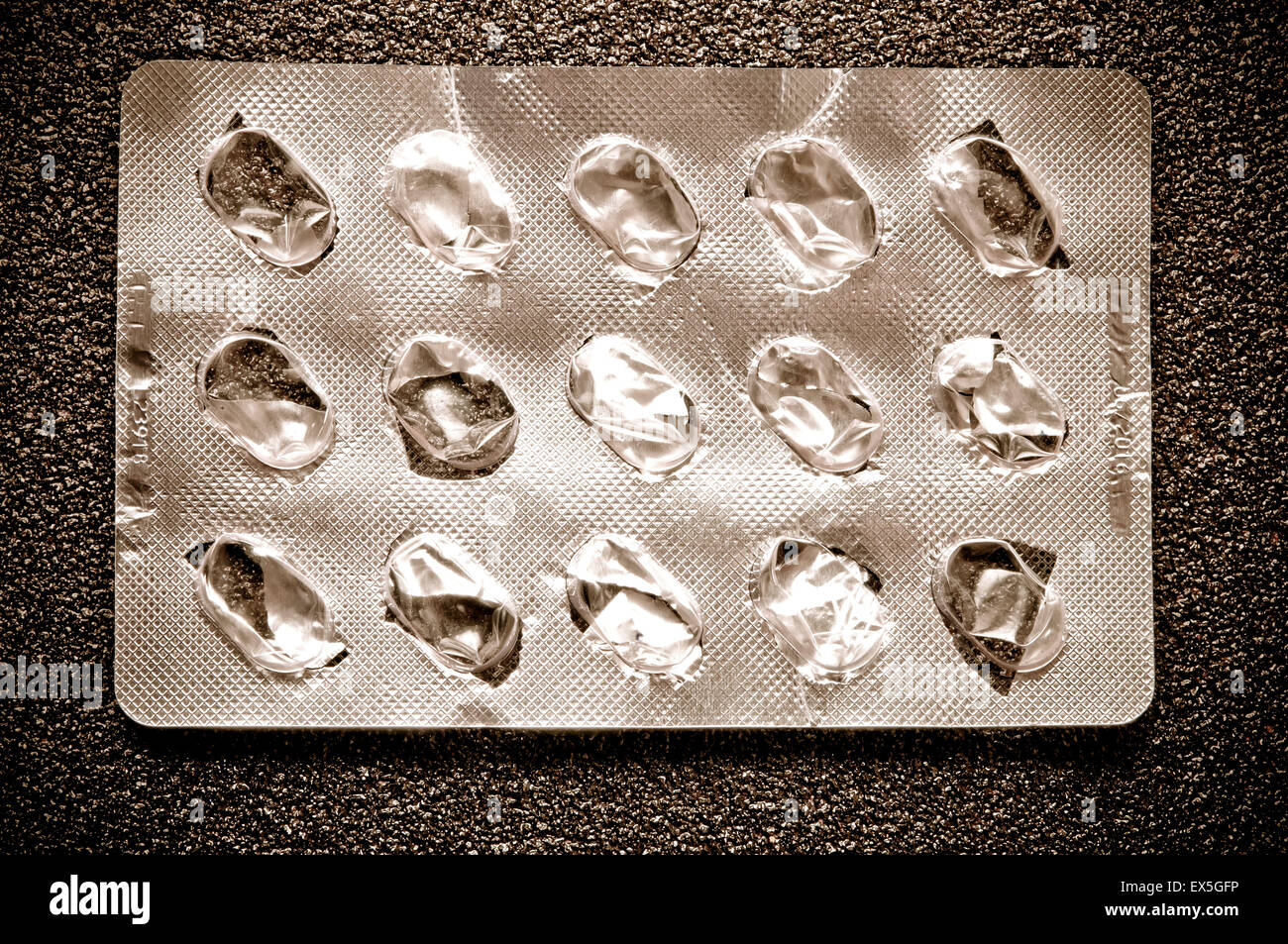 empty pills blister - Stock Image