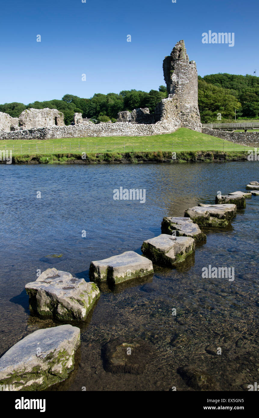 Stepping stones over the river Ogmore, next to Ogmore Castle, South Wales, UK. Stock Photo